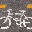 Bicycle road sign painted on the pavement — Stock Photo #29205397