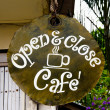 Sign of open and close of coffeeshop — Stock Photo