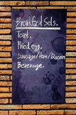 Lavagna di menu colazione sulla parete — Foto Stock