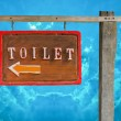 Wooden sign of toilet isolated on blue sky background — Stock Photo