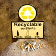 Stock Photo: Sign of recyclable with ash tray