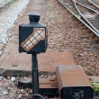 Railroad switch in the urban station — Stok fotoğraf