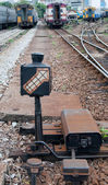 Railroad switch in the urban station — Stock Photo