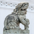 A medieval chinese guardian foo dog granite statue.  — Stock Photo