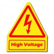 The Sign of danger of electricity from high voltage isolated on  — Stock Photo