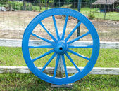 Colorful of old cart wheel — Stock Photo