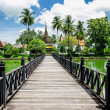 Old wood bridge in sukhothai historical at sukhothai province,Th — Stock Photo
