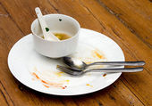 Dirty plate with spoon and fork on wood table — Stock Photo