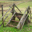 Stock Photo: Old wooden staircase in farm