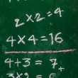 Multiplication table on a blackboard — Stock Photo