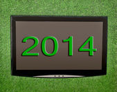 Lcd screen on artificial green grass of 2014 — Stock Photo