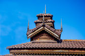 Wood roof of sanctuary in temple. Mae Hong son province, Thailan — Stock Photo