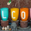 Colorful of welcome text — Stock Photo
