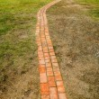 Stone block walk path in the park with green grass background — Stock Photo