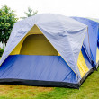 Blue tent sitting in a campsite — Stock Photo