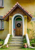 Old door of classic home in europe — Stock Photo