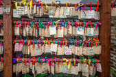 Mae hong sont, Thailand - 19 Dec: Wooden prayer tablets at Mae h — Stock Photo