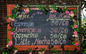Blackboard of menu coffee — Foto de Stock