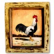 Paintiing chiken on wood frame isolated on white background — Stock Photo