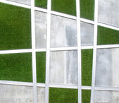 Cement wall with artificial grass background — Zdjęcie stockowe