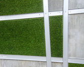 Cement wall with artificial grass background — Stock Photo