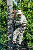 Minburi, Thailand- Nov 9:Electrician are installing high powered — Stock Photo