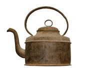 Old rusted kettle isolated on white background — Foto Stock