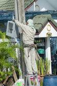 Minburi, Thailand- Nov 9:Electrician installing high powered ele — Stock Photo