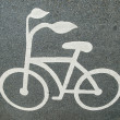 Bicycle road sign painted on the pavement — Stock Photo #42537895