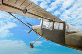 Vintage plane of worlld war on blue sky background  — Stock Photo