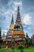 Old  pagoda in temple at ayutaya province,Thailand — Stock Photo