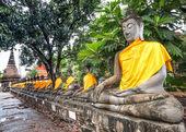 Old  Buddha status in temple at ayutaya province,Thailand — Stock Photo