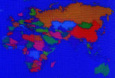 Colorful stripes on lcd screen of Europe and South east asia map — Stock Photo
