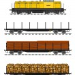 Freight train loaded with wood trunks. - Stock Vector