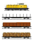 Freight train loaded with wood trunks. — Stock Vector