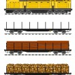 American style Freight train loaded with wood trunks. - Stok Vektr