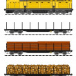 American style Freight train loaded with wood trunks. - ベクター素材ストック