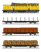 American style Freight train loaded with wood trunks. — Stock Vector