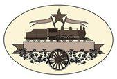 Vintage-ånglok logotyp — Stockvektor