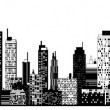A black and white illustration of city skyline. — Stock Vector #34126083