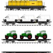 Flat car train set — Stock Vector