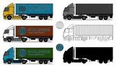 Trucks with shipping containers — Stock Vector