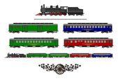 Vintage train kit — Stock Vector