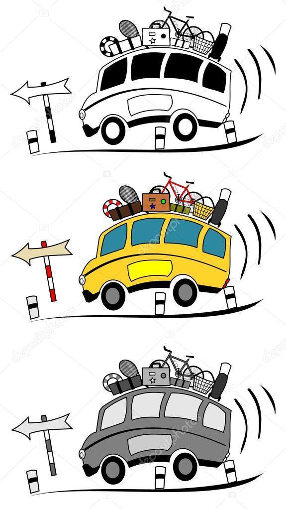 Cartone animato di autobus pullman — vettoriali stock