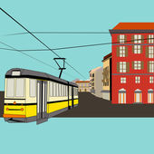City Break, vector background with a tram and old high street fo — Stock Vector