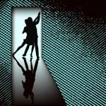 Doorway Tango, vector background illustration with couple dancin — Stock Vector