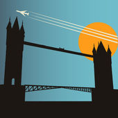 London City Break, vector background with Tower Bridge at sunset — Stock Vector