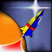 Foguete espacial retro — Vetor de Stock
