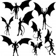Devil silhouettes — Stock Vector