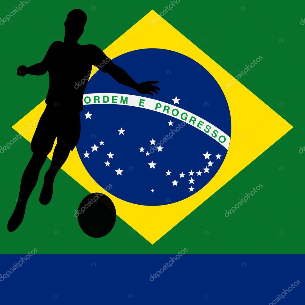巴西2014年巴西国旗矢量插图为国际足球或足球冠军— vector by pet